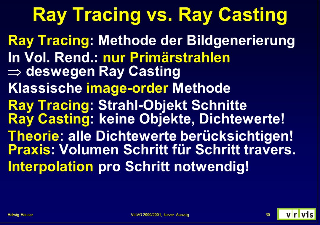 Ray Tracing vs. Ray Casting