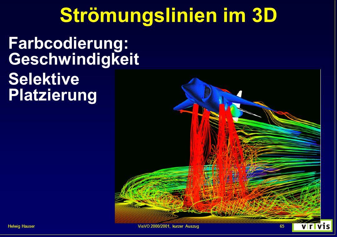 Strömungslinien im 3D Farbcodierung: Geschwindigkeit