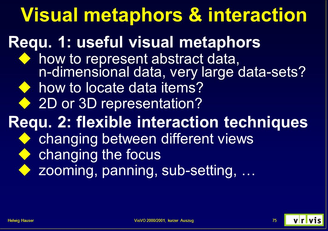 Visual metaphors & interaction