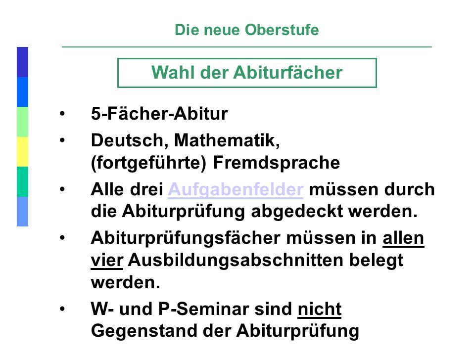 Deutsch, Mathematik, (fortgeführte) Fremdsprache