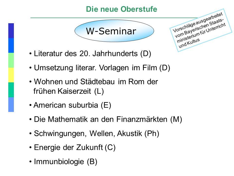 W-Seminar Die neue Oberstufe Literatur des 20. Jahrhunderts (D)
