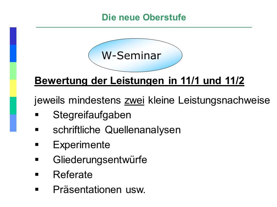 W-Seminar Bewertung der Leistungen in 11/1 und 11/2