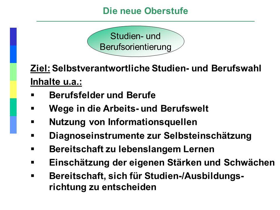Ziel: Selbstverantwortliche Studien- und Berufswahl Inhalte u.a.: