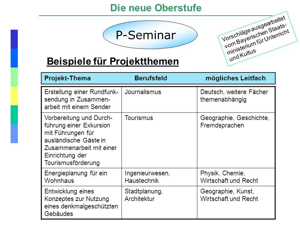 P-Seminar Die neue Oberstufe Beispiele für Projektthemen