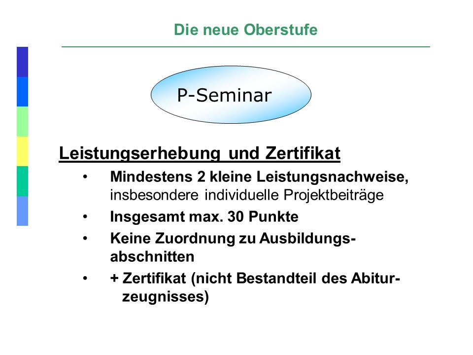 P-Seminar Leistungserhebung und Zertifikat Die neue Oberstufe