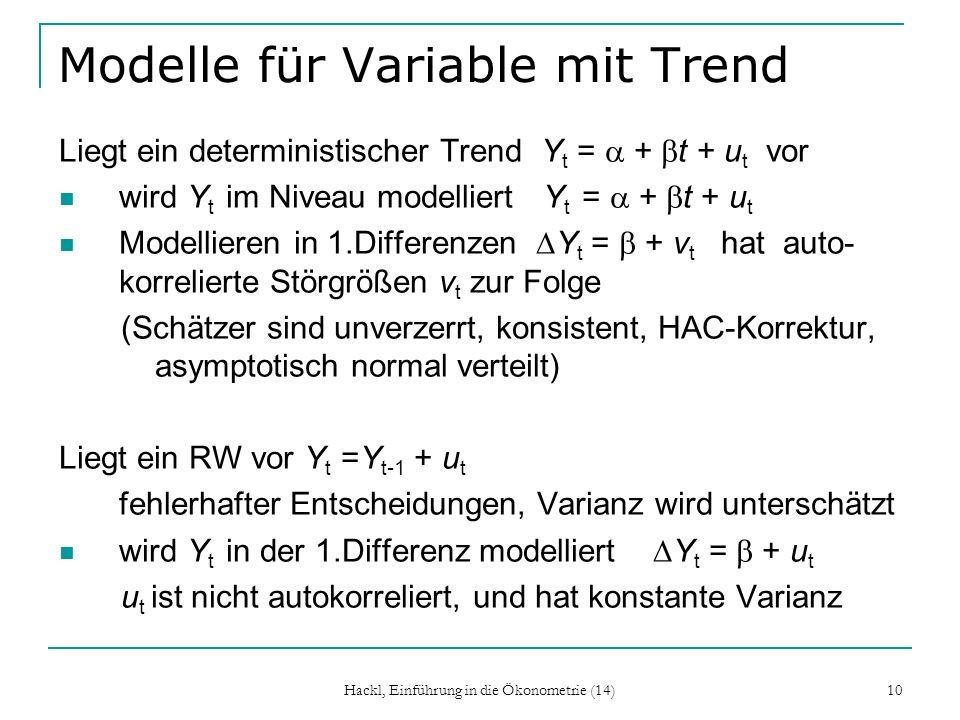 Modelle für Variable mit Trend