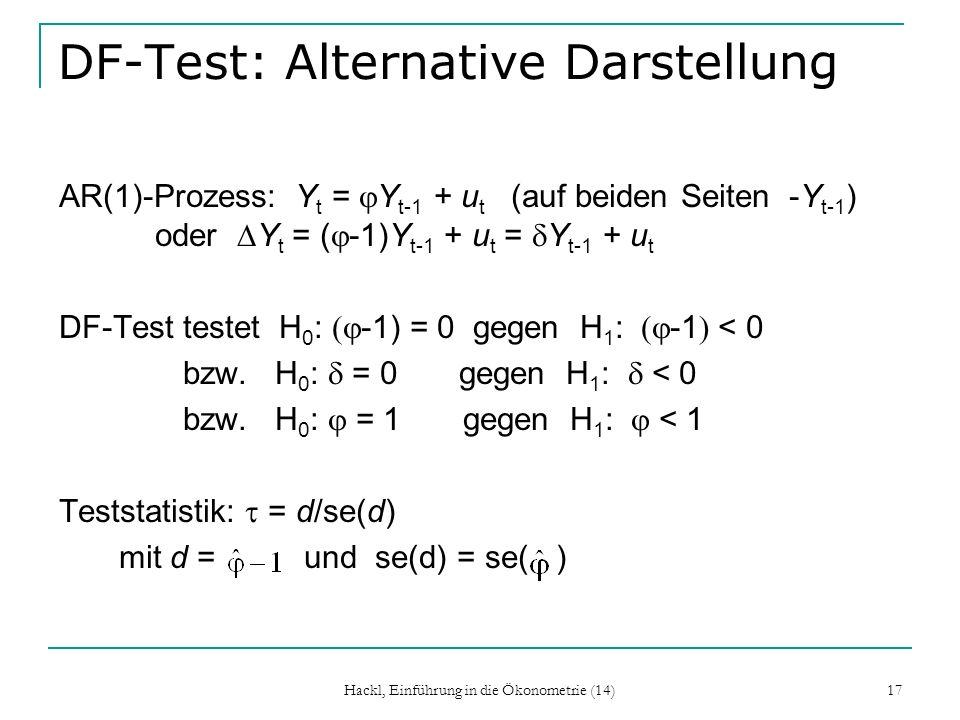 DF-Test: Alternative Darstellung