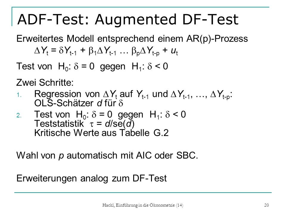 ADF-Test: Augmented DF-Test