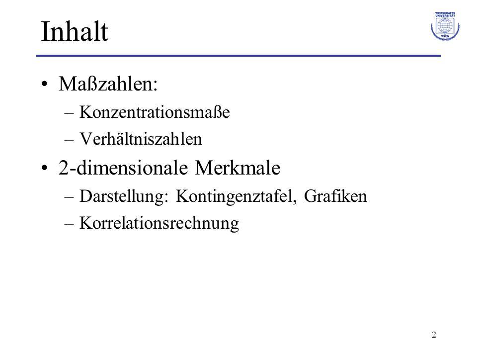 Inhalt Maßzahlen: 2-dimensionale Merkmale Konzentrationsmaße