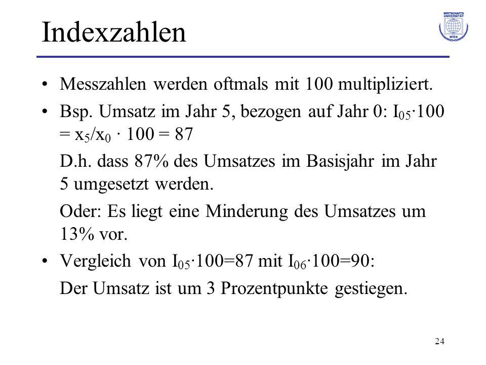 Indexzahlen Messzahlen werden oftmals mit 100 multipliziert.
