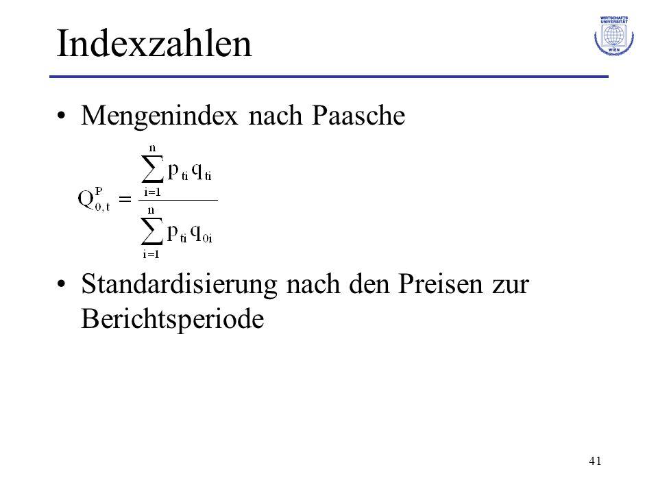 Indexzahlen Mengenindex nach Paasche