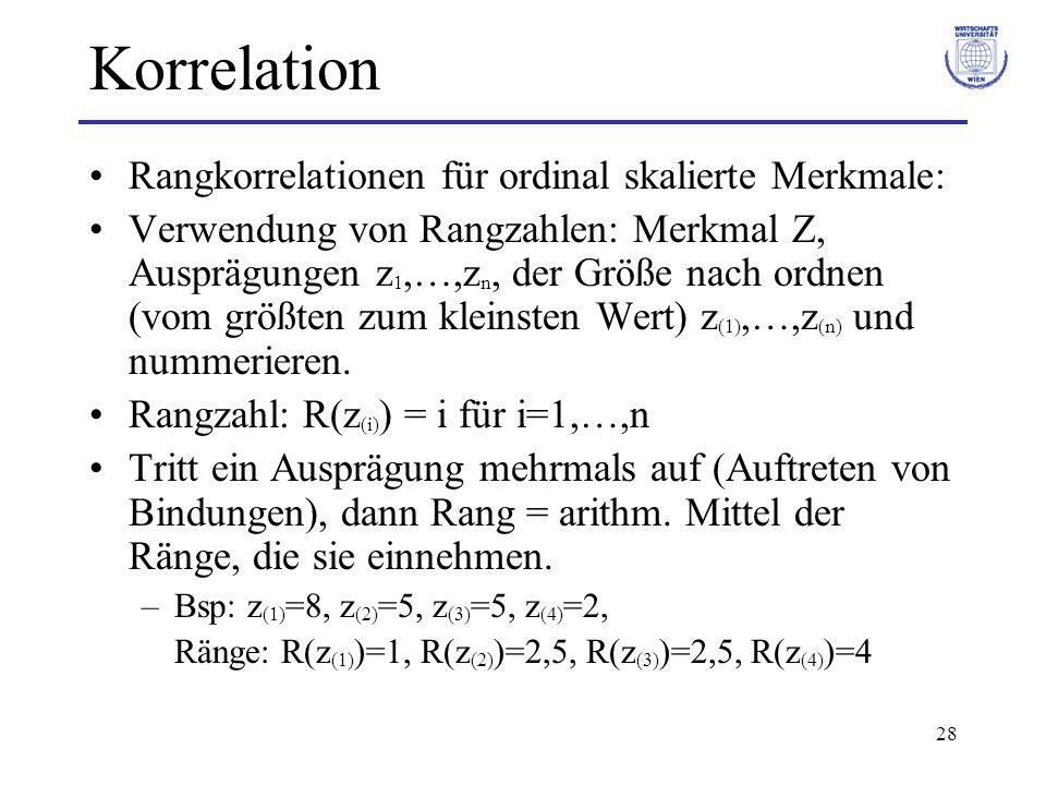 Korrelation Rangkorrelationen für ordinal skalierte Merkmale: