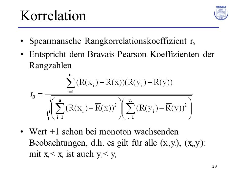 Korrelation Spearmansche Rangkorrelationskoeffizient rS