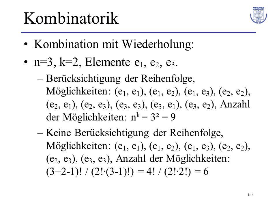 Kombinatorik Kombination mit Wiederholung: