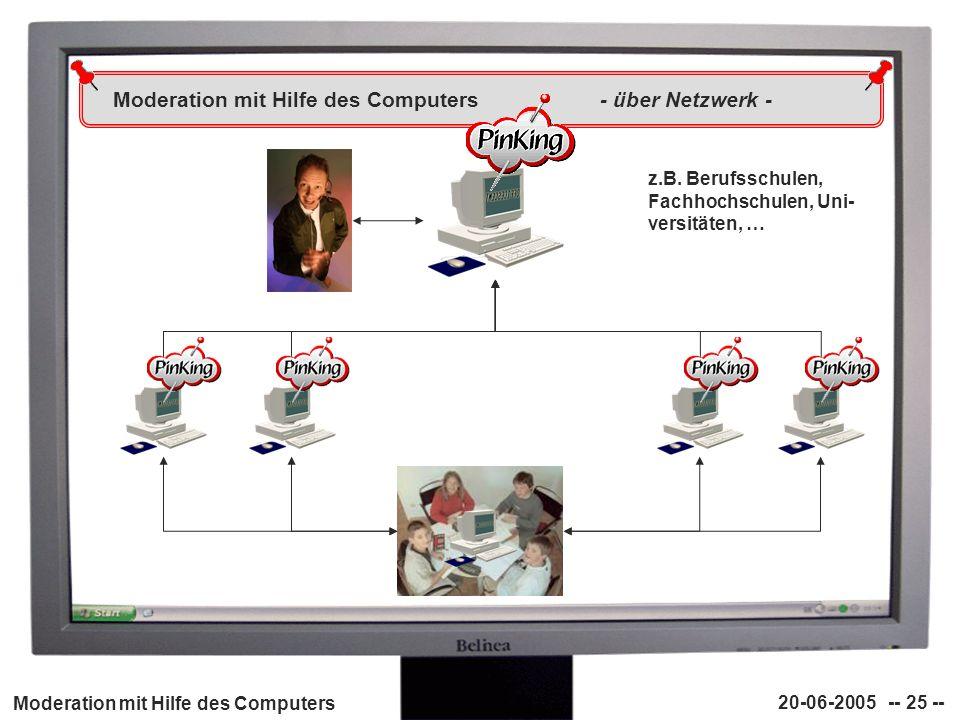 Moderation mit Hilfe des Computers - über Netzwerk -