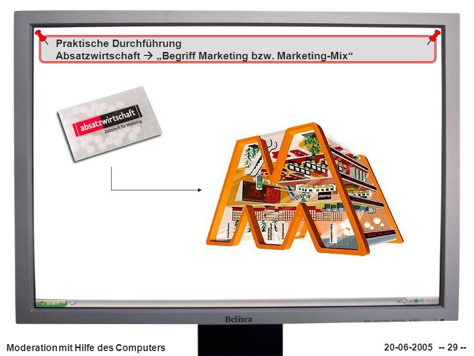 """Praktische Durchführung Absatzwirtschaft  """"Begriff Marketing bzw"""