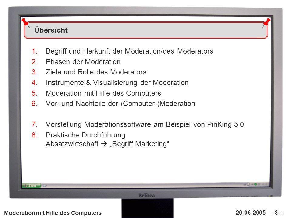 Übersicht Begriff und Herkunft der Moderation/des Moderators. Phasen der Moderation. Ziele und Rolle des Moderators.