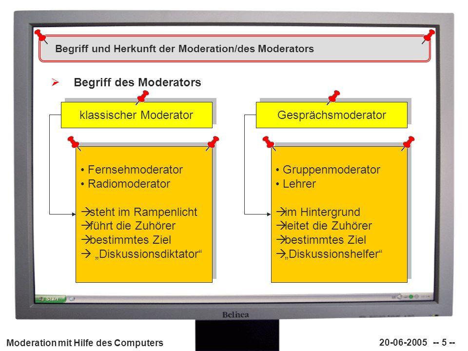 Begriff und Herkunft der Moderation/des Moderators