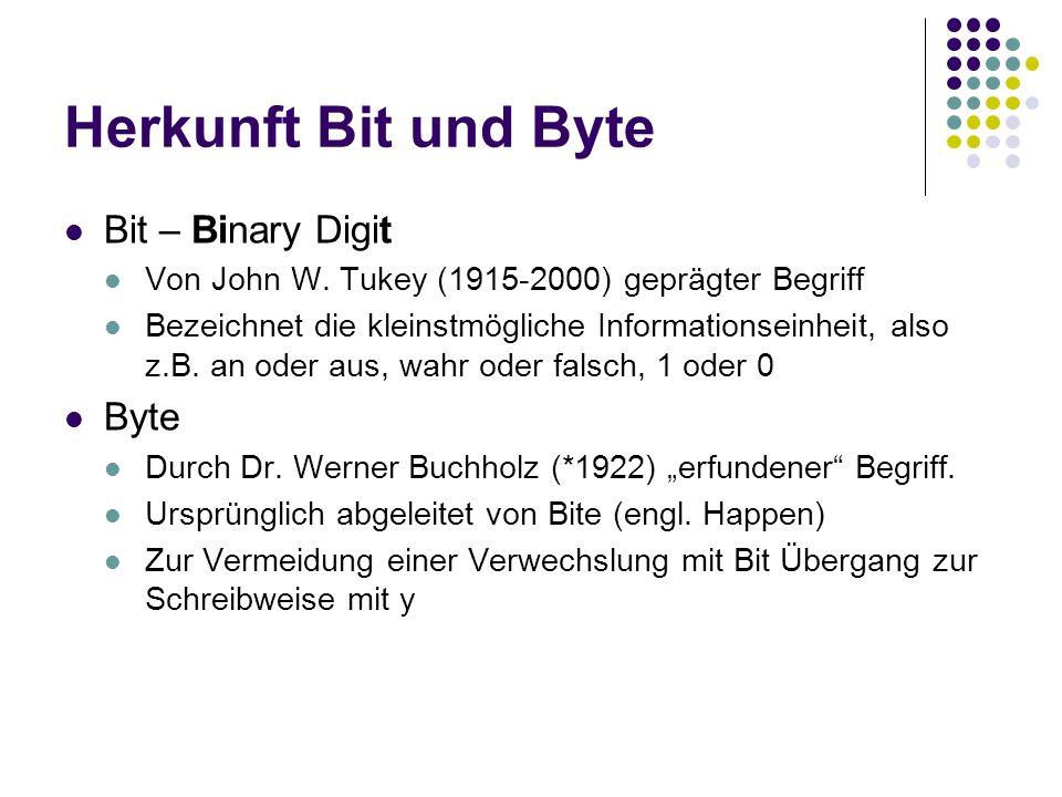 Herkunft Bit und Byte Bit – Binary Digit Byte