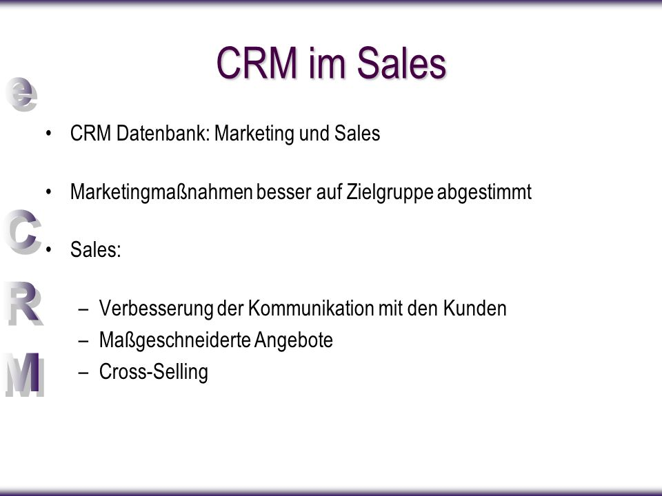 CRM im Sales CRM Datenbank: Marketing und Sales