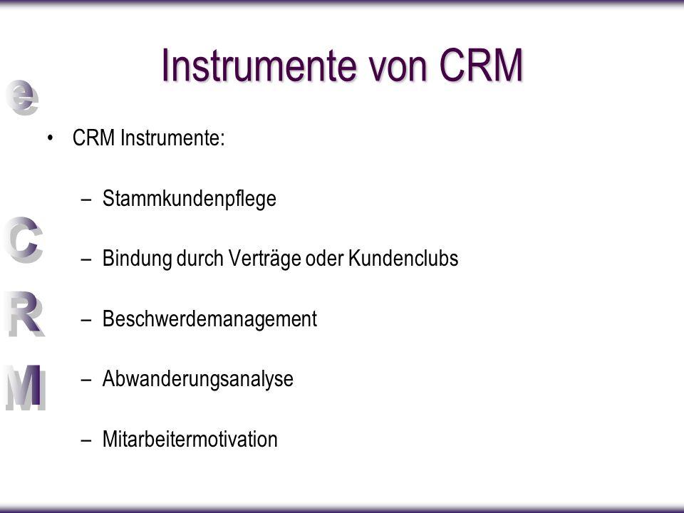 Instrumente von CRM CRM Instrumente: Stammkundenpflege