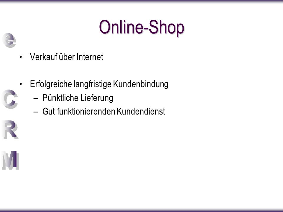 Online-Shop Verkauf über Internet
