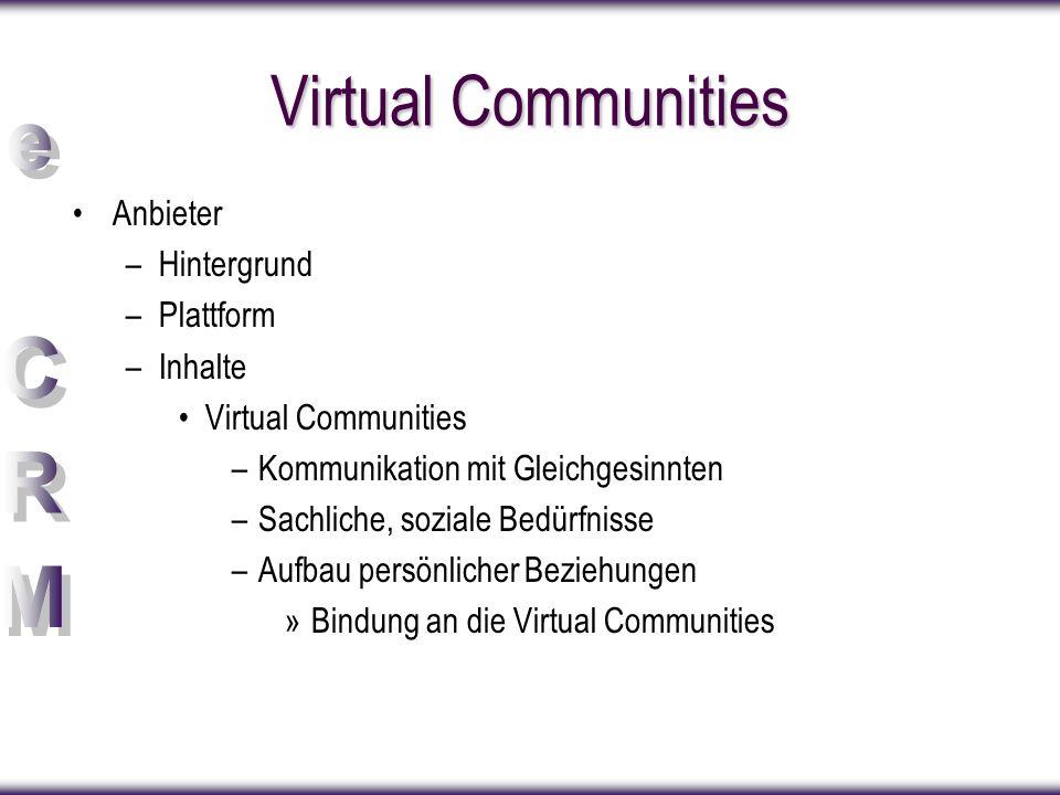 Virtual Communities Anbieter Hintergrund Plattform Inhalte