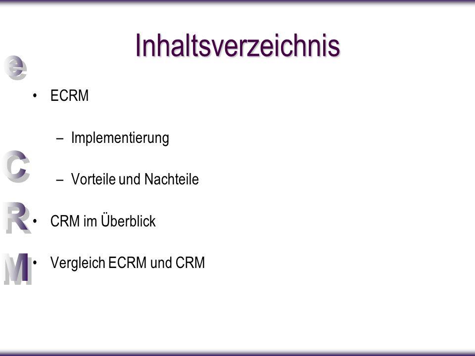 Inhaltsverzeichnis ECRM Implementierung Vorteile und Nachteile
