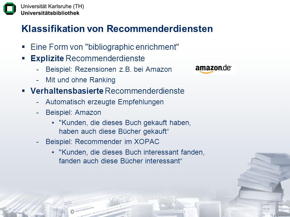 Klassifikation von Recommenderdiensten