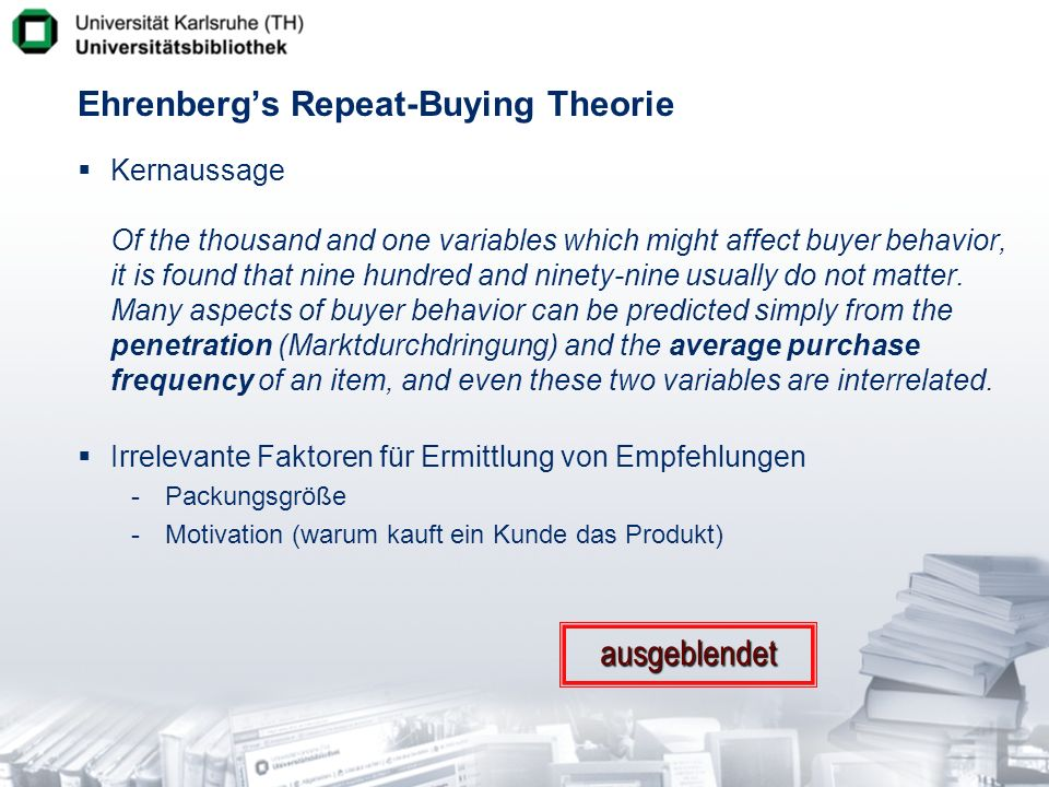 Ehrenberg's Repeat-Buying Theorie