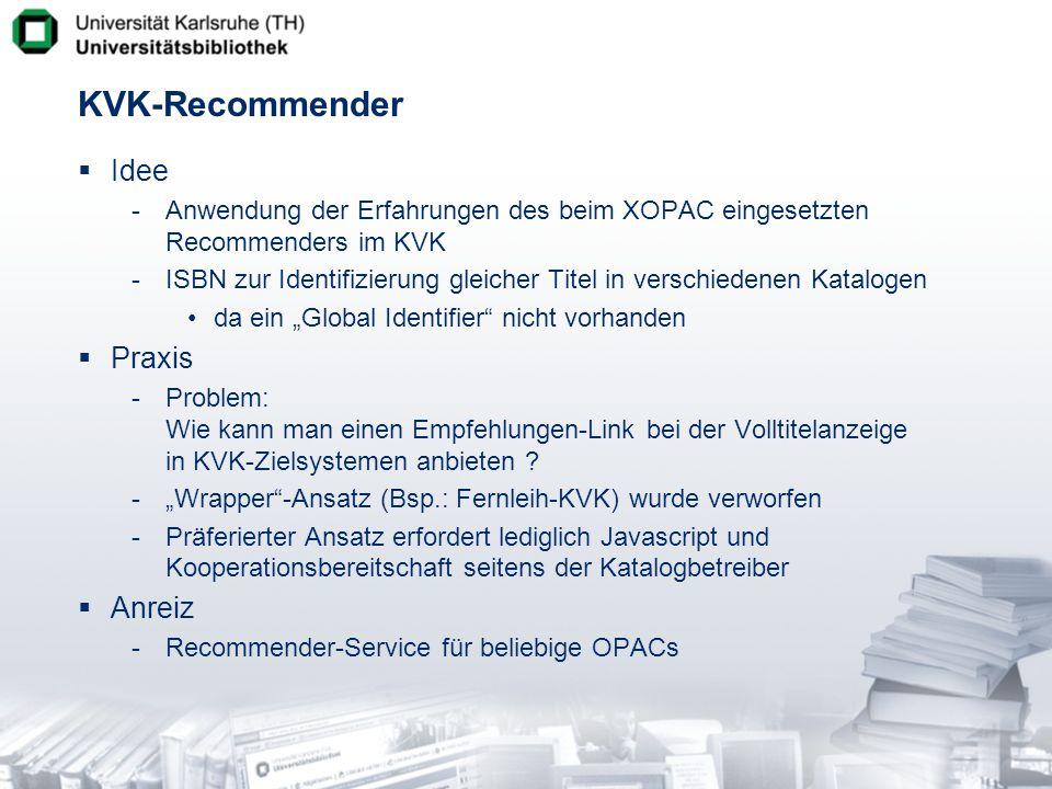 KVK-Recommender Idee Praxis Anreiz