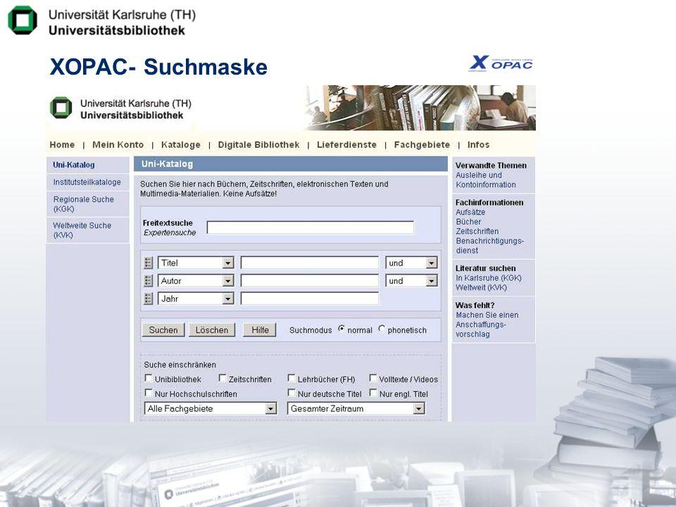 XOPAC- Suchmaske