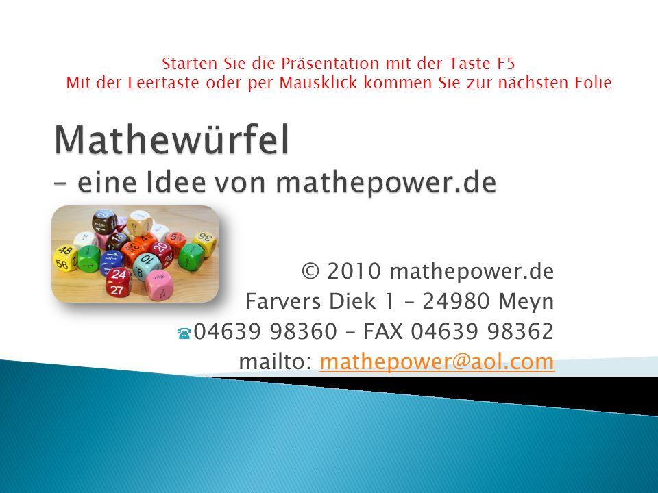 Mathewürfel – eine Idee von mathepower.de
