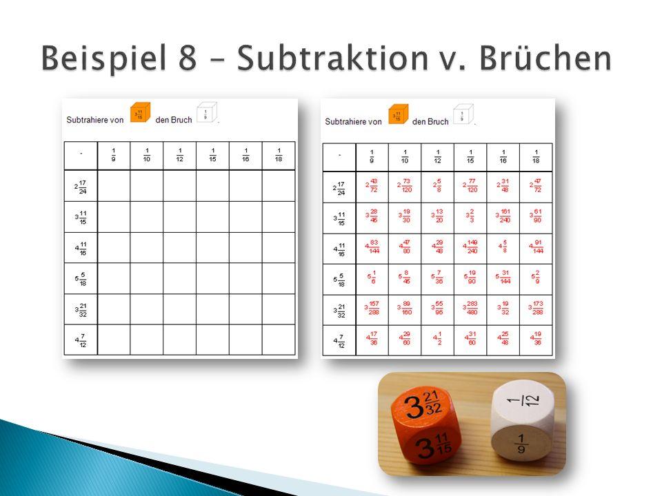 Beispiel 8 – Subtraktion v. Brüchen