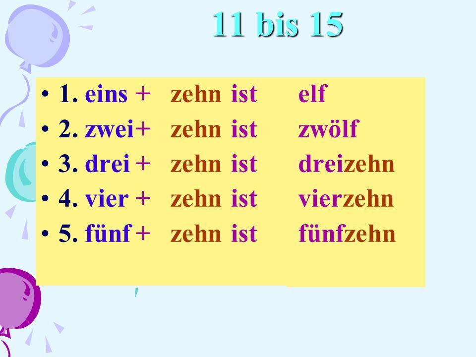 11 bis 15 1. eins + zehn ist 2. zwei + zehn ist 3. drei + zehn ist