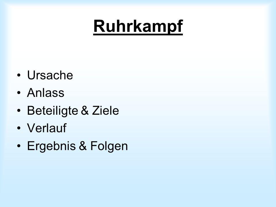Ruhrkampf Ursache Anlass Beteiligte & Ziele Verlauf Ergebnis & Folgen