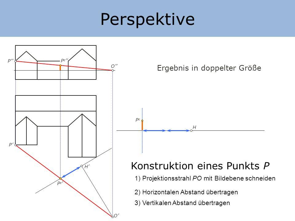 Perspektive Konstruktion eines Punkts P Ergebnis in doppelter Größe