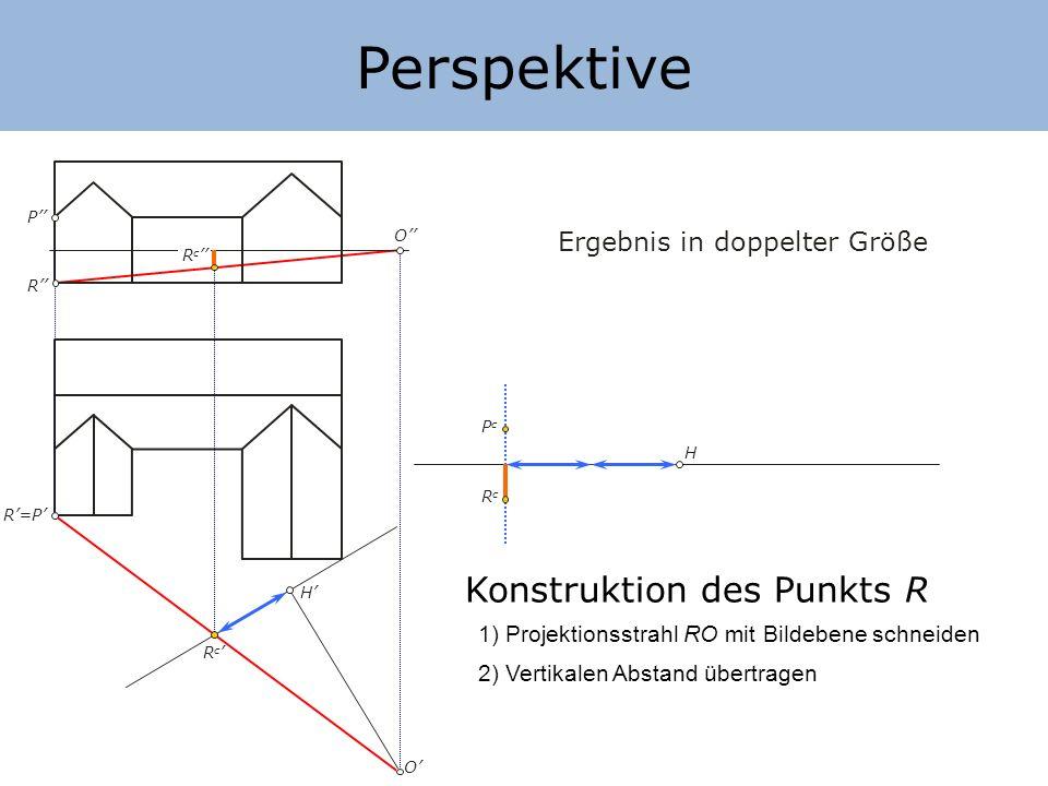 Perspektive Konstruktion des Punkts R Ergebnis in doppelter Größe