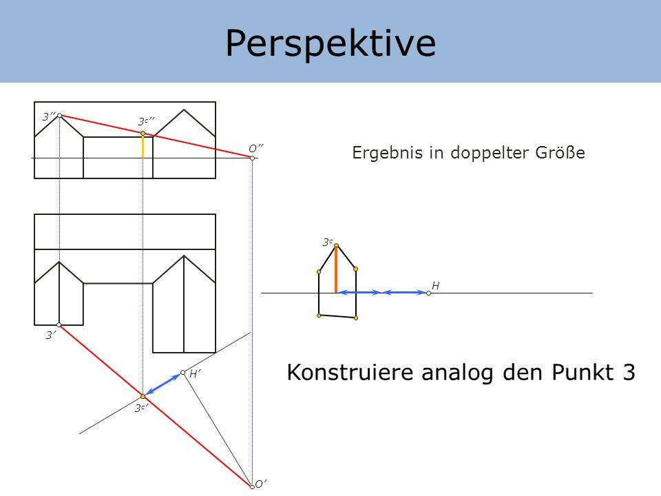 Perspektive Konstruiere analog den Punkt 3 Ergebnis in doppelter Größe