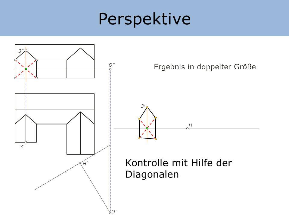 Perspektive Kontrolle mit Hilfe der Diagonalen