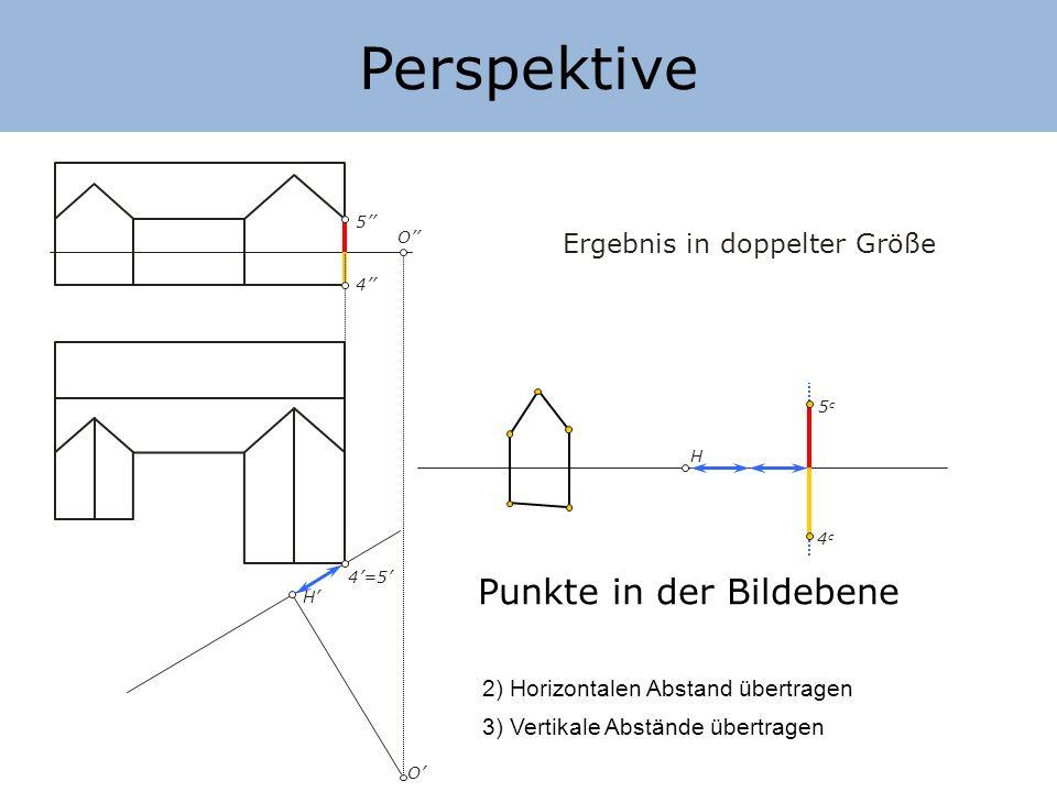 Perspektive Punkte in der Bildebene Ergebnis in doppelter Größe
