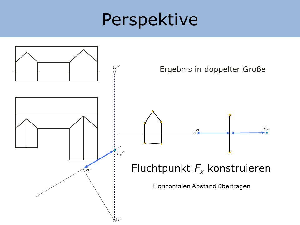 Perspektive Fluchtpunkt Fx konstruieren Ergebnis in doppelter Größe