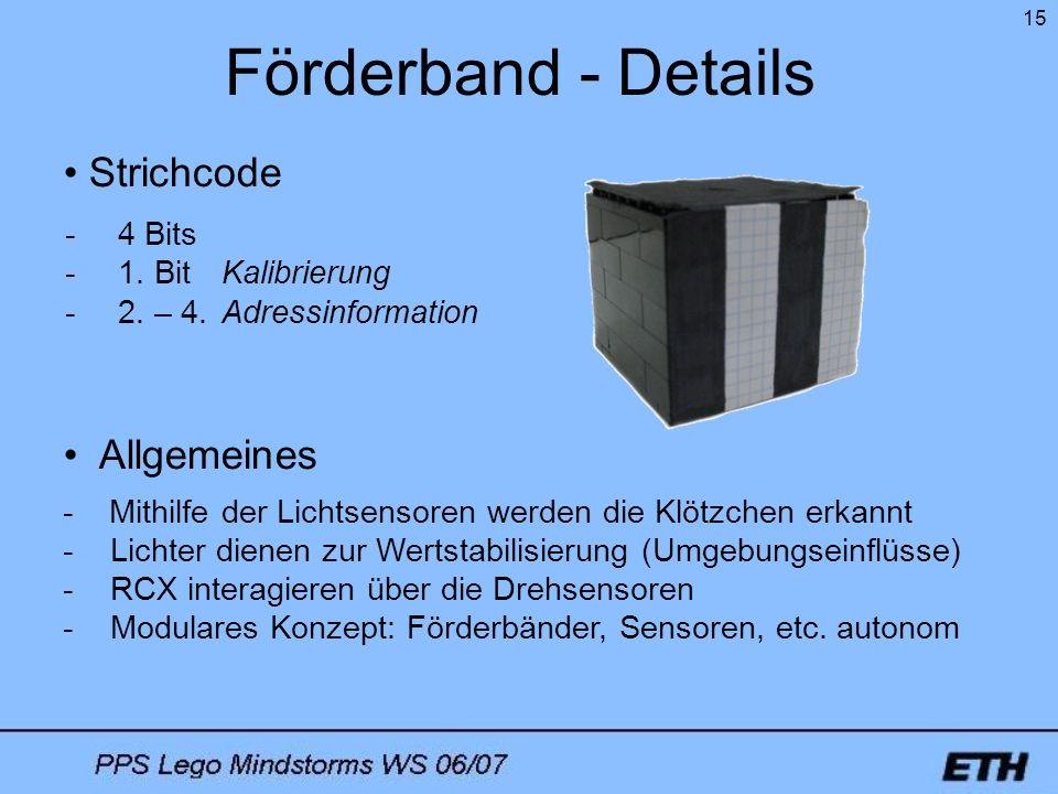Förderband - Details Strichcode Allgemeines 4 Bits 1. Bit Kalibrierung