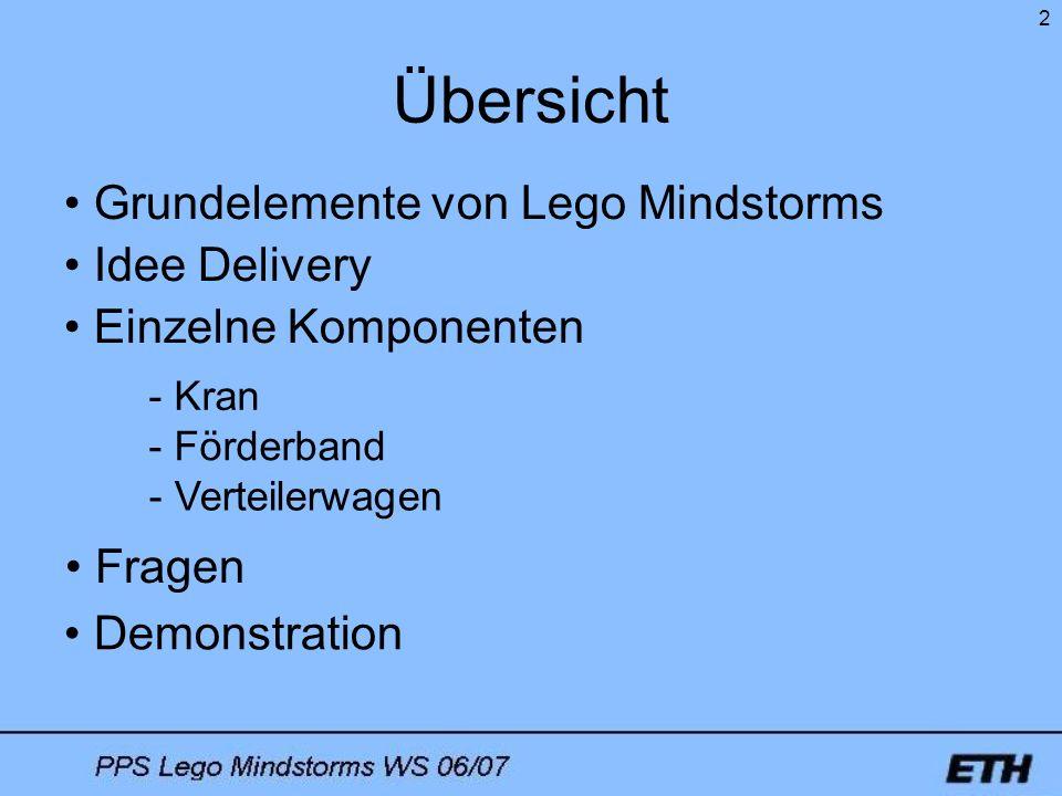 Übersicht Grundelemente von Lego Mindstorms Idee Delivery