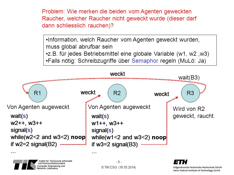 z.B. für jedes Betriebsmittel eine globale Variable (w1, w2 ,w3)