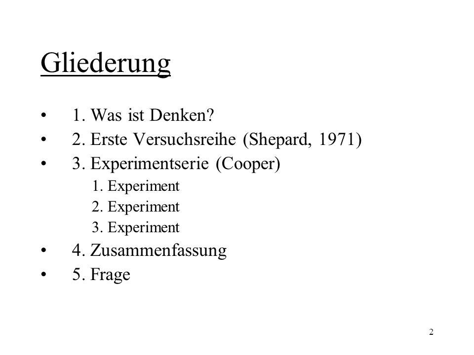 Gliederung 1. Was ist Denken 2. Erste Versuchsreihe (Shepard, 1971)
