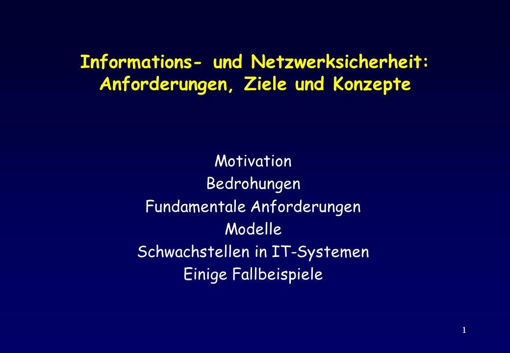Informations- und Netzwerksicherheit: Anforderungen, Ziele und Konzepte