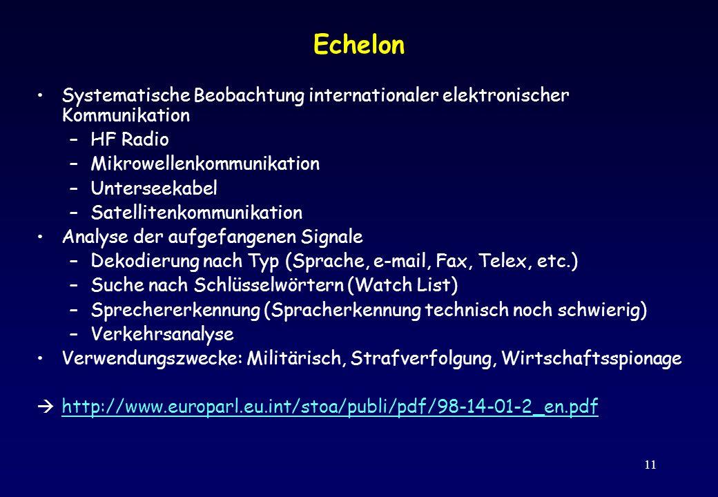 Echelon Systematische Beobachtung internationaler elektronischer Kommunikation. HF Radio. Mikrowellenkommunikation.