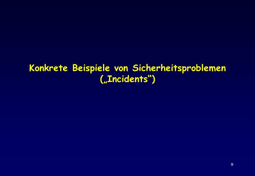 """Konkrete Beispiele von Sicherheitsproblemen (""""Incidents )"""