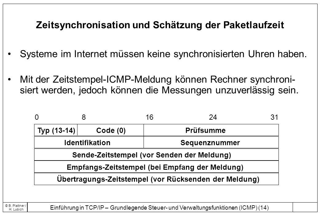Zeitsynchronisation und Schätzung der Paketlaufzeit